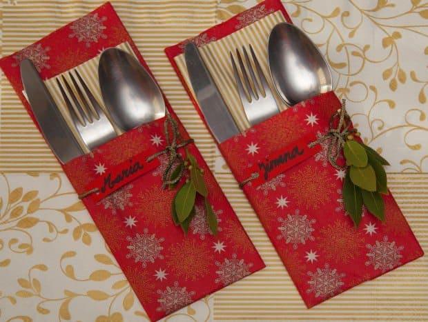 Como hacer porta cubiertos para decorar la mesa en navidad for Como armar mi cocina