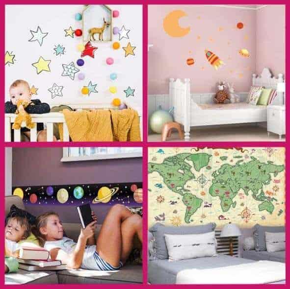 Imágenes de cuatro habitaciones decoradas con vinilos infantiles